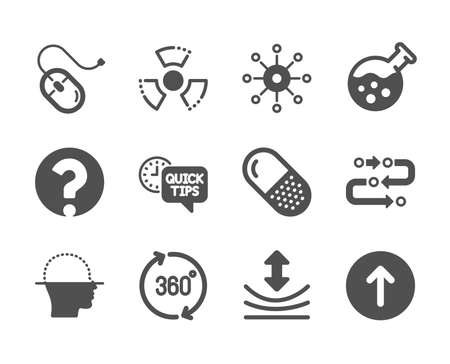 Set of Science icons, such as Capsule pill, Computer mouse, 360 degrees, Methodology, Multichannel, Swipe up, Chemistry lab, Face scanning, Quick tips, Resilience, Question mark. Vector