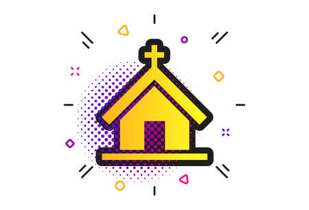 Church icon. Halftone dots pattern. Christian religion symbol. Chapel with cross on roof. Classic flat church icon. Vector