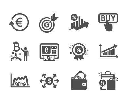 Set of Finance icons, such as Target, Loan percent, Bitcoin atm, Bitcoin project, Buying, Trade chart, Wallet, Discount, Chart, Exchange currency, Shopping bags, Dollar exchange. Target icon. Vector