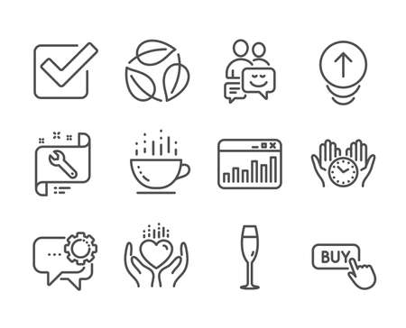 Set of Business icons, such as Coffee cup, Checkbox, Marketing statistics, Buy button, Employees messenger, Spanner, Safe time, Leaves, Communication, Swipe up, Champagne glass, Hold heart. Vector