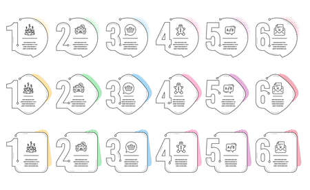 Ab testing, Car leasing and Shopping cart line icons set. Infographic timeline. Reject letter, Salary employees and Gingerbread man signs. Test chat, Transport discount, Dreaming of gift. Vector Illustration