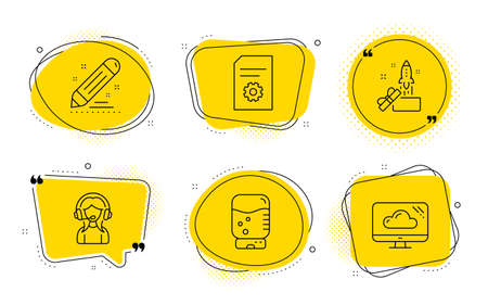 File settings, Brand contract and Cloud storage signs. Chat bubbles. Water cooler, Support and Innovation line icons set. Office drink, Call center, Crowdfunding. File management. Vector
