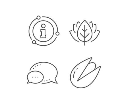 Pistachio nut line icon. Chat bubble, info sign elements. Tasty nuts sign. Vegan food symbol. Linear pistachio nut outline icon. Information bubble. Vector