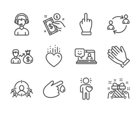 Set of People icons, such as Consultant, Gift, Clapping hands, User communication, Middle finger, Smile, Payment method, Blood donation, Friend, Sallary, Heart, Business targeting. Vector Ilustrace