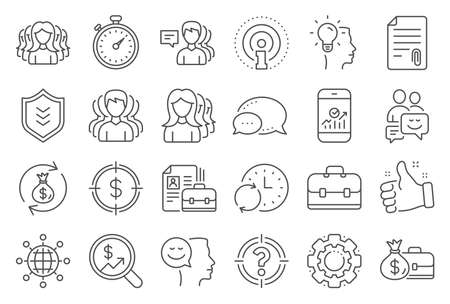 Business user line icons. Group, Profile and Teamwork icons. Portfolio, Timer and Security shield symbols. Business analytic, human management, user group. Person profile, teamwork support. Vector