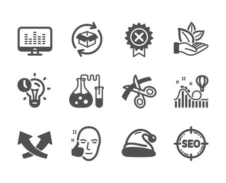 Set of Business icons, such as Return parcel, Seo, Healthy face, Roller coaster, Scissors, Time management, Reject medal, Intersection arrows, Organic product, Music making, Santa hat. Vector Ilustrace