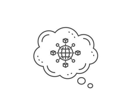 Logistics network line icon. Chat bubble design. Parcel tracking sign. Goods distribution symbol. Outline concept. Thin line logistics network icon. Vector Ilustrace