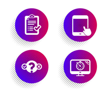 Tablet pc, Approved checklist and Quiz test icons simple set. Halftone dots button. Seo timer sign. Touchscreen gadget, Accepted message, Select answer. Analytics. Technology set. Vector Ilustração