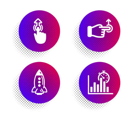 Rocket, Swipe up and Drag drop icons simple set. Halftone dots button. Report timer sign. Spaceship, Touch technology, Move. Growth chart. Technology set. Classic flat rocket icon. Vector 일러스트