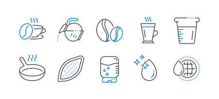 Set of Food and drink icons, such as Coffee pot, Frying pan, Water drop, Water cooler, Cooking beaker, Coffee beans, Cocoa nut, Latte line icons. Tea drink, Cooking utensil. Vector