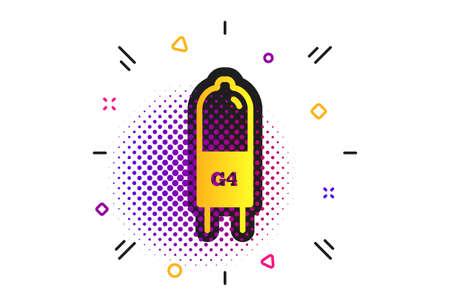 Light bulb icon. Halftone dots pattern. Lamp G4 socket symbol. Led or halogen light sign. Classic flat g4 lamp icon. Vector