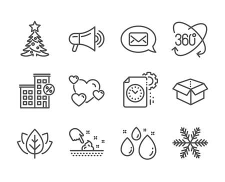 Set of Business icons, such as Heart, Full rotation, Skin moisture, Loan house, Messenger, Open box, Water drop, Snowflake, Project deadline, Christmas tree, Organic tested, Megaphone. Vector