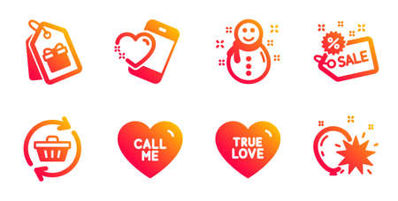 Call me, Refresh cart and Sale line icons set. True love, Coupons and Heart signs. Snowman, Balloon dart symbols. Love sweetheart, Online shopping. Holidays set. Gradient call me icons set. Vector Ilustração