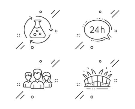 Chemistry experiment, 24h service and Teamwork line icons set. Arena stadium sign. Laboratory flask, Call support, Group of users. Sport complex. Business set. Vector Illusztráció