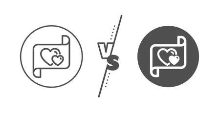 Heart mail sign. Versus concept. Love letter line icon. Valentine day symbol. Line vs classic love letter icon. Vector Ilustrace