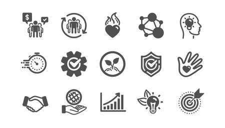 Iconos de valores fundamentales. Integridad, objetivo y estrategia. Apretón de manos de confianza, responsabilidad social, iconos de objetivo de compromiso. Conjunto clásico. Conjunto de calidad. Vector