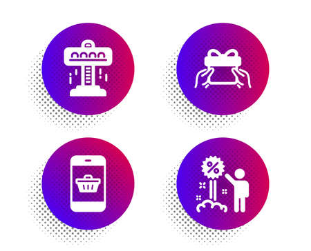 Smartphone buying, Give present and Attraction icons simple set. Halftone dots button. Discount sign. Website shopping, Receive a gift, Free fall. Sale shopping. Holidays set. Vector