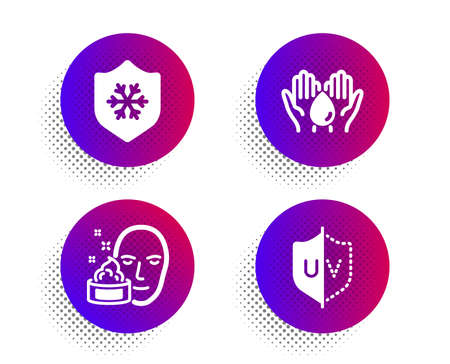 Clean skin, Face cream and Wash hands icons simple set. Halftone dots button. Uv protection sign. Cold protect, Gel, Skin care. Ultraviolet. Beauty set. Classic flat clean skin icon. Vector