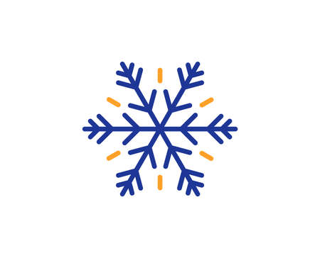 Snowflake sign. Air conditioning line icon. Hotel service symbol. Colorful outline concept. Blue and orange thin line air conditioning icon. Vector Ilustrace