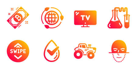 Dermatologically tested, Eco energy and Chemistry lab line icons set. Bitcoin, Tractor and Tv signs. Swipe up, Face recognition symbols. Organic, Ecology. Technology set. Vector