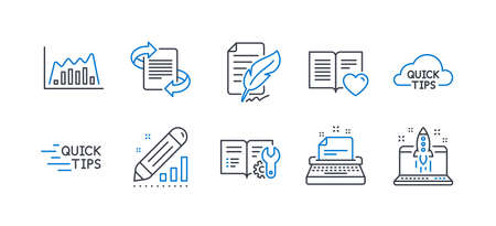 Set of Education icons, such as Quick tips, Education, Edit statistics, Love book, Engineering documentation, Infographic graph, Marketing, Typewriter, Feather signature, Start business. Vector Ilustração