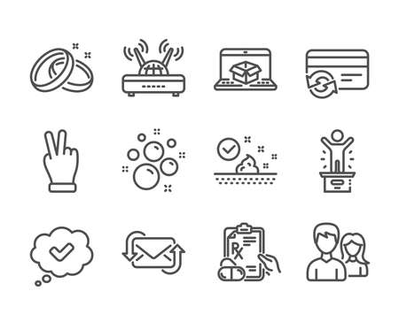 Set of Business icons, such as Winner podium, Wifi, Prescription drugs, Change card, Wedding rings, Skin care, Refresh mail, Approved, Online delivery, Clean bubbles, Teamwork line icons. Vector