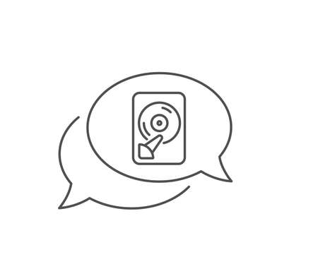 Hdd line icon. Chat bubble design. Computer memory component sign. Data storage symbol. Outline concept. Thin line hdd icon. Vector