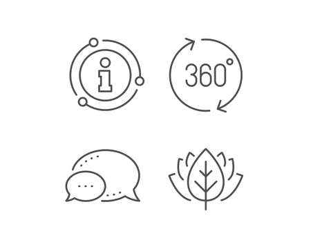 360 degrees line icon. Chat bubble, info sign elements. VR simulation sign. Panoramic view symbol. Linear 360 degrees outline icon. Information bubble. Vector Illustration