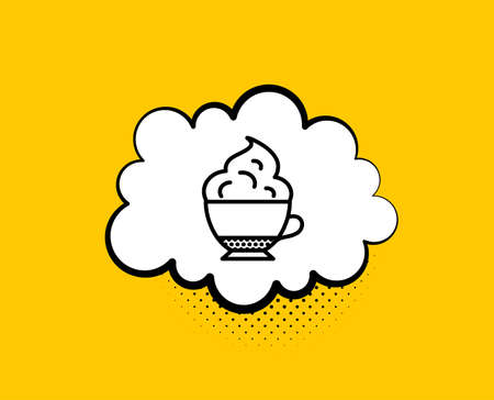 Cappuccino coffee with Whipped cream icon. Comic speech bubble. Hot drink sign. Beverage symbol. Yellow background with chat bubble. Cappuccino cream icon. Colorful banner. Vector Ilustração