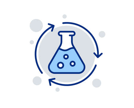 Chemistry experiment line icon. Laboratory flask sign. Analysis symbol. Linear design sign. Colorful chemistry experiment icon. Vector Ilustração
