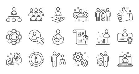 Management line icons. Business people, Algorithm and Group. Startup strategy linear icon set. Quality line set. Vector Иллюстрация