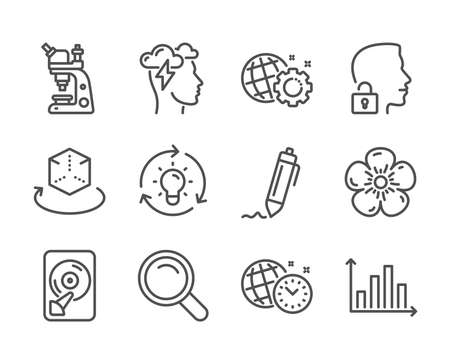 Set of Science icons, such as Time management, Unlock system, Search, Idea, Microscope, Augmented reality, Signature, Seo gear, Mindfulness stress, Diagram graph, Hdd, Natural linen. Vector Ilustrace