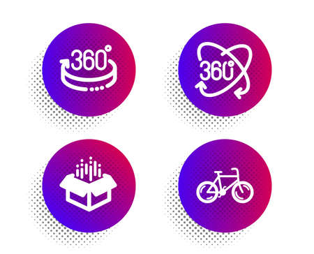 Full rotation, 360 degrees and Open box icons simple set. Halftone dots button. Bicycle sign. 360 degree, Full rotation, Delivery package. Bike. Business set. Classic flat full rotation icon. Vector Çizim