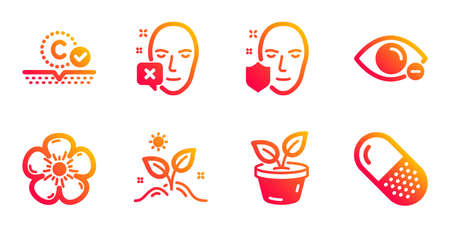 Grow plant, Natural linen and Collagen skin line icons set. Leaves, Face protection and Face declined signs. Myopia, Capsule pill symbols. Leaves, Organic tested. Healthcare set. Vector Vectores