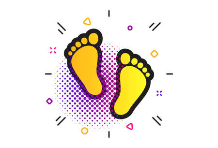 Child pair of footprint sign icon. Halftone dots pattern. Toddler barefoot symbol. Babys first steps. Classic flat footprint icon. Vector