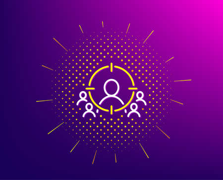 Business targeting line icon. Halftone pattern. Marketing target strategy symbol. Aim with people sign. Gradient background. Business targeting line icon. Yellow halftone pattern. Vector Çizim