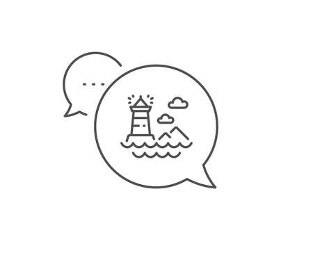 Lighthouse line icon. Chat bubble design. Tower sign. Searchlight building symbol. Outline concept. Thin line lighthouse icon. Vector Ilustrace