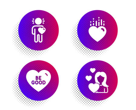 Be good, Heart and Friend icons simple set. Halftone dots button. Love sign. Love sweetheart. Love set. Classic flat be good icon. Vector Illusztráció