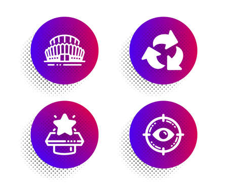 Sports stadium, Recycle and Winner podium icons simple set. Halftone dots button. Eye target sign. Championship arena, Recycling waste, First place. Optometry. Business set. Vector