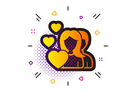 Group of People sign. Halftone circles pattern. Couple Love icon. Valentines day symbol. Classic flat couple icon. Vector Foto de archivo - 132246246