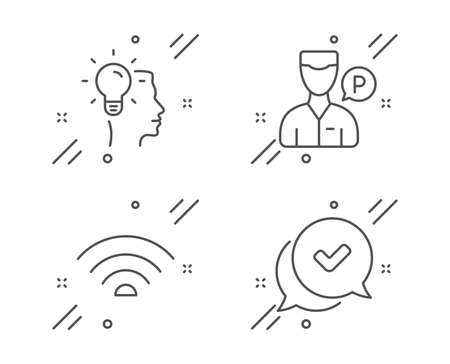 Idea, Valet servant and Wifi line icons set. Approved sign. Professional job, Parking man, Wifi internet. Chat message. Business set. Line idea outline icon. Vector
