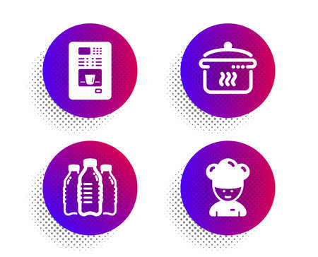 Water bottles, Boiling pan and Coffee vending icons simple set. Halftone dots button. Cooking chef sign. Aqua drinks, Cooking utensil, Coffee vending machine. Sous-chef. Food and drink set. Vector Illustration