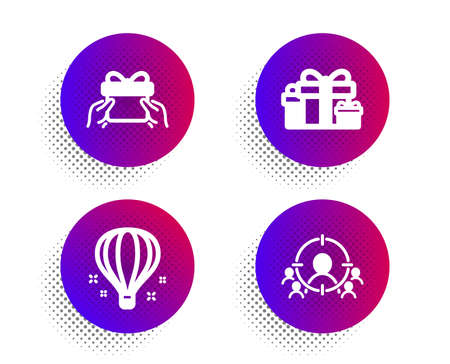 Holiday presents, Give present and Air balloon icons simple set. Halftone dots button. Business targeting sign. Gift boxes, Receive a gift, Sky travelling. People and target aim. Business set. Vector