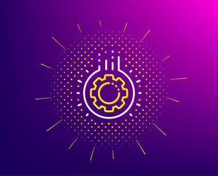 Gear line icon. Halftone pattern. Teamwork cogwheel sign. Working process symbol. Gradient background. Gear line icon. Yellow halftone pattern. Vector