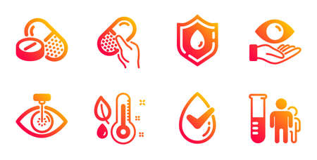Blood donation, Thermometer and Medical drugs line icons set. Health eye, Dermatologically tested and Capsule pill signs. Eye laser, Medical analyzes symbols. Medicine analyze, Grow plant. Vector Banco de Imagens - 132246255