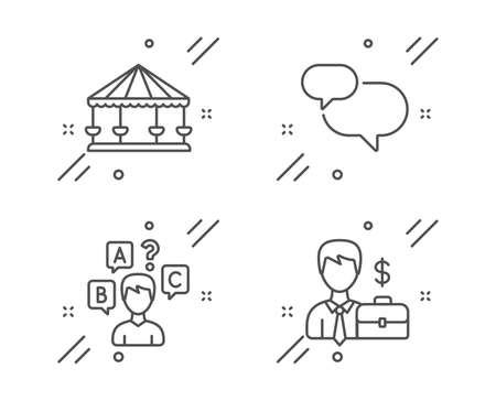Chat message, Carousels and Quiz test line icons set. Businessman case sign. Speech bubble, Attraction park, Interview. Human resources. Business set. Line chat message outline icon. Vector