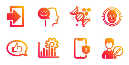Smartphone protection, Good mood and Feedback line icons set. Face detect, Login and Chemistry dna signs. Seo graph, Edit person symbols. Phone, Positive thinking. Technology set. Vector
