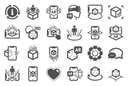 Augmented reality icons. VR simulation, Panorama view, 360 degree. Virtual reality gaming, augmented, full rotation arrows icons. 360 vr tour, virtual simulation device. Quality set. Vector Çizim