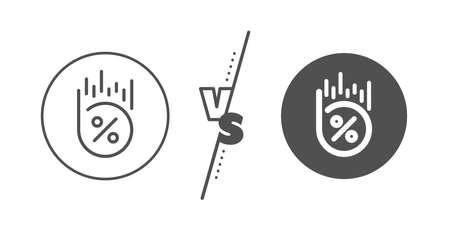 Discount sign. Versus concept. Loan percent line icon. Credit percentage symbol. Line vs classic loan percent icon. Vector Ilustrace