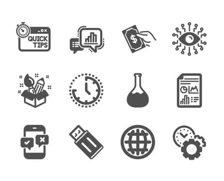 Set of Education icons, such as Time, Creativity, Usb flash, Phone survey, Pay money, Time management, Artificial intelligence, Chemistry lab, Graph chart, Quick tips, Report document. Vector